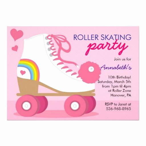Roller Skate Invitation Template Awesome Roller Skating Birthday Party Invitations