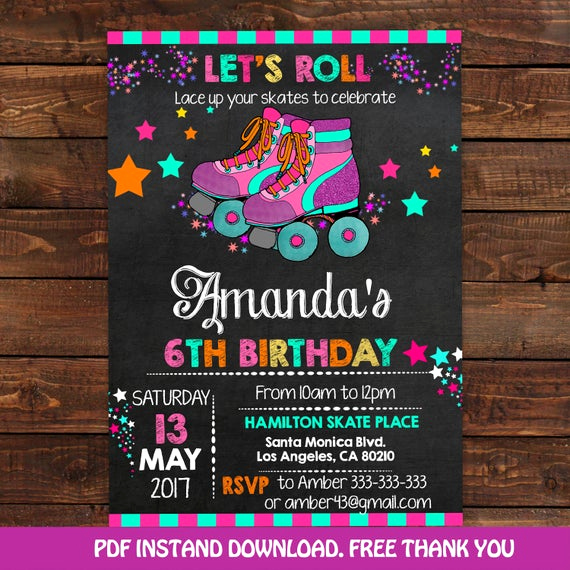 Roller Skate Invitation Template Awesome Roller Skating Invitation for Girls