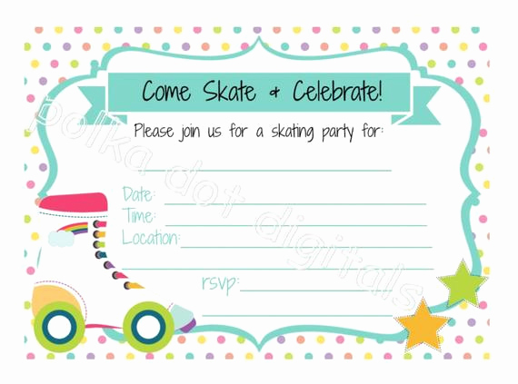 Roller Skate Invitation Template Elegant Roller Skating Birthday Invitation Fill In the by
