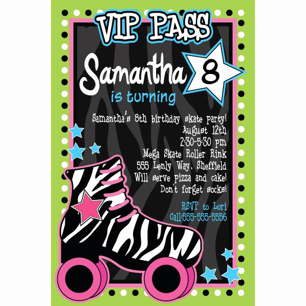 Roller Skate Invitation Template Fresh Roller Skating Party Invitation Party Ideas