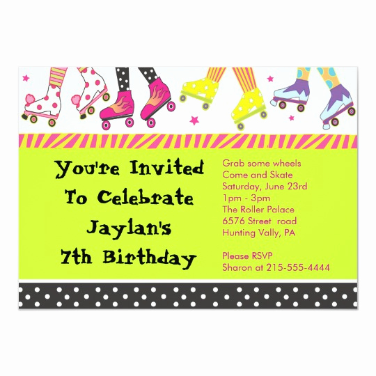 Roller Skate Invitation Template Inspirational Roller Skating Invitation Happy Birthday Party
