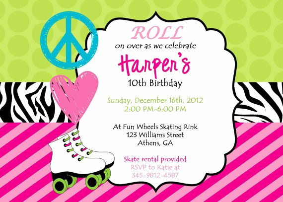 Roller Skate Invitation Template Lovely Roller Skating Party Invitation Template