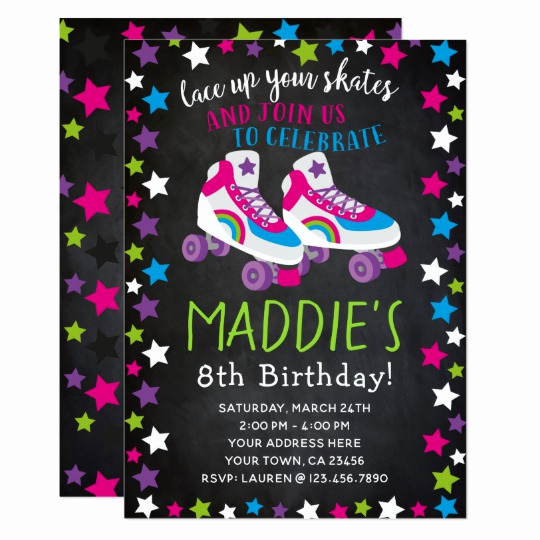 Roller Skate Invitation Template Luxury Roller Skate Birthday Invitation