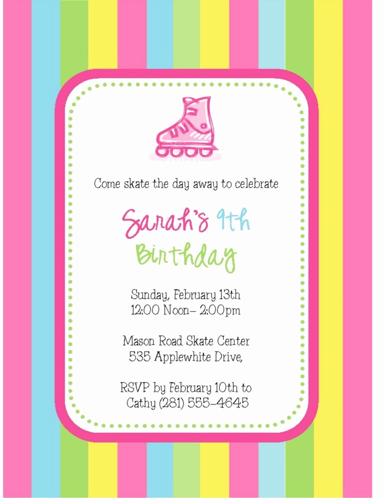 Roller Skate Invitation Template New Free Roller Skate Invitation Template