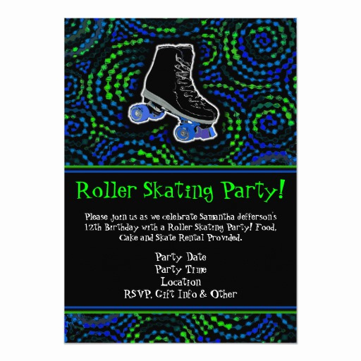 Roller Skate Invitation Template Unique Black Green Roller Skating Party Invitation