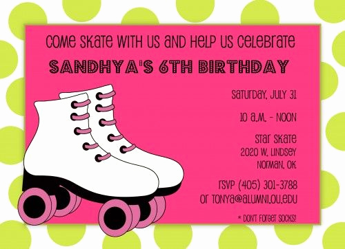 Roller Skate Invitation Template Unique Free Roller Skate Invitation Template
