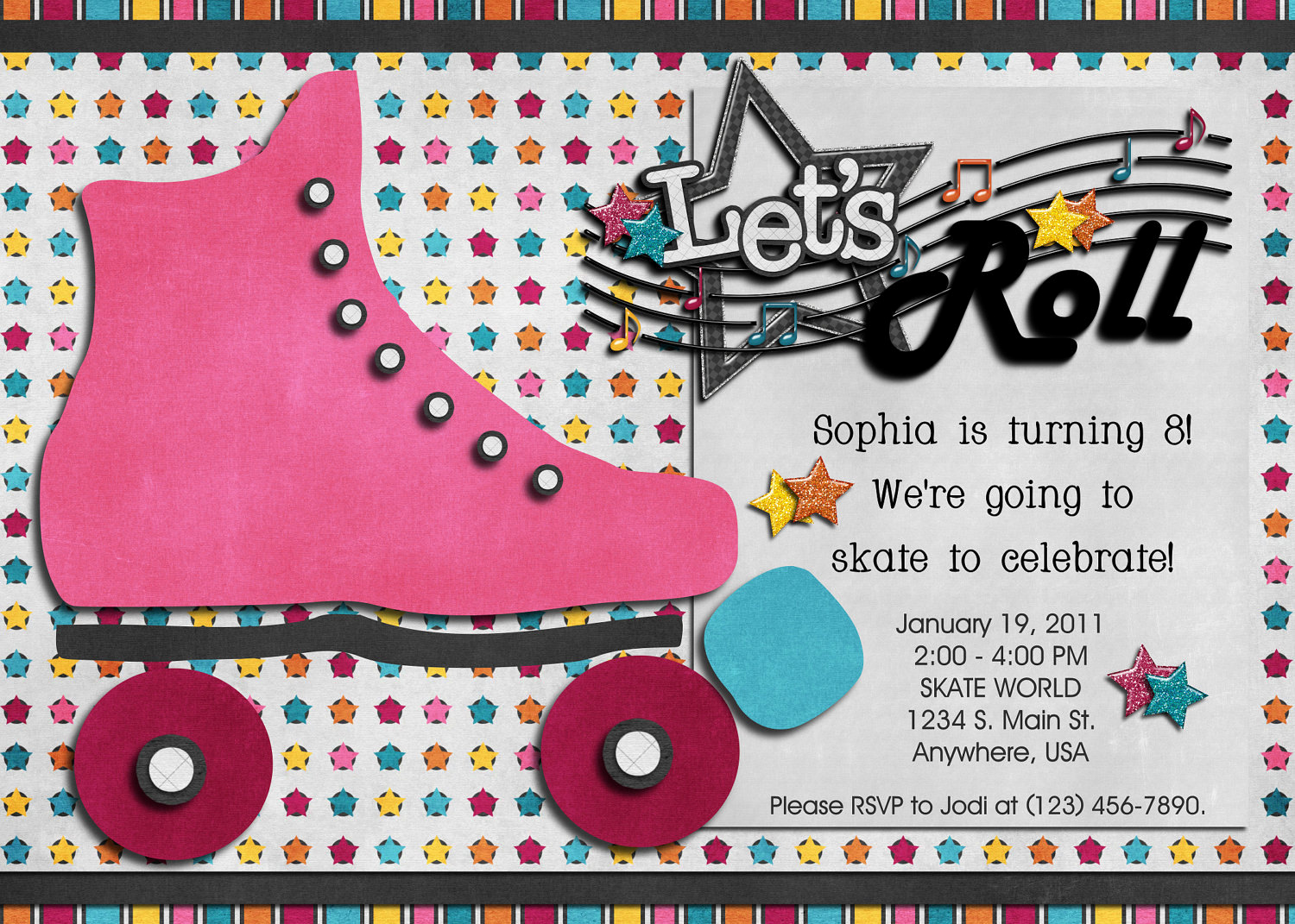 Roller Skate Invitation Template Unique Roller Skating Birthday Digital Invitation Skate 80 S