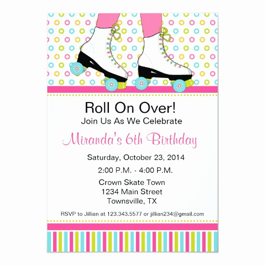 Roller Skate Invitation Template Unique Roller Skating Birthday Party Invitation