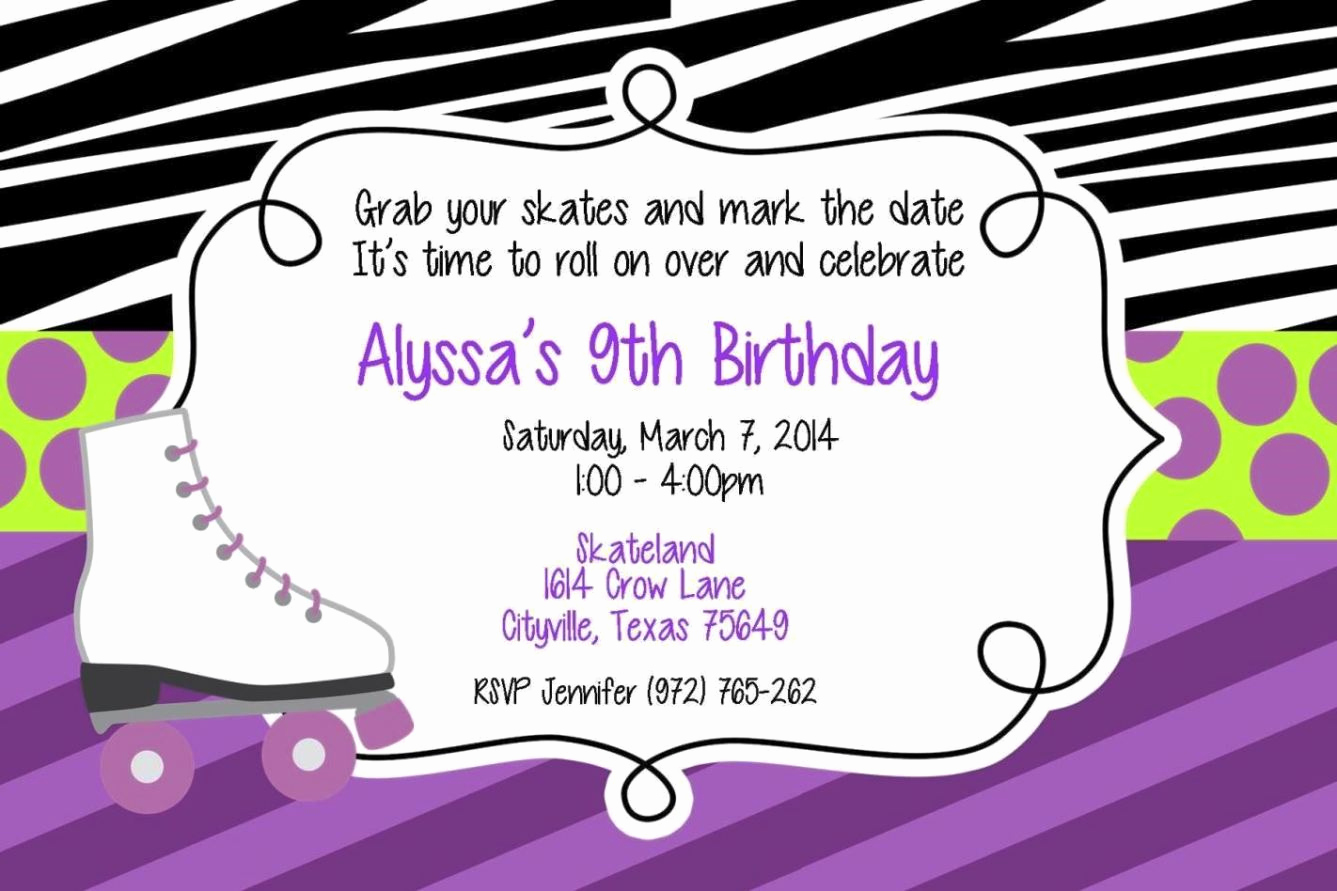 Roller Skate Invitation Template Unique Roller Skating Party Invitation Template
