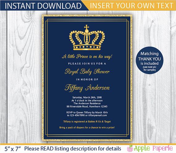 Royal Baby Shower Invitation Awesome Baby Shower Invitation Boy Royal Invitation Royal Baby