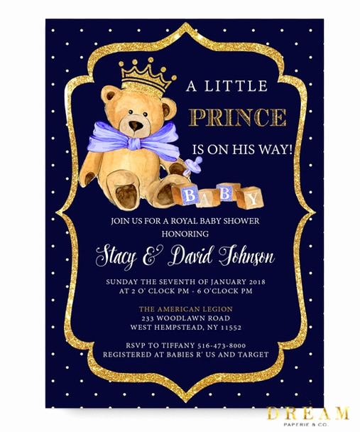 Royal Baby Shower Invitation Best Of Little Prince Baby Shower Invitation Royal Baby Bear