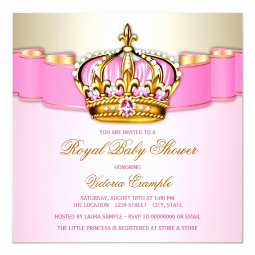 Royal Baby Shower Invitation Elegant Girls Pink Gold Royal Baby Shower Invitation