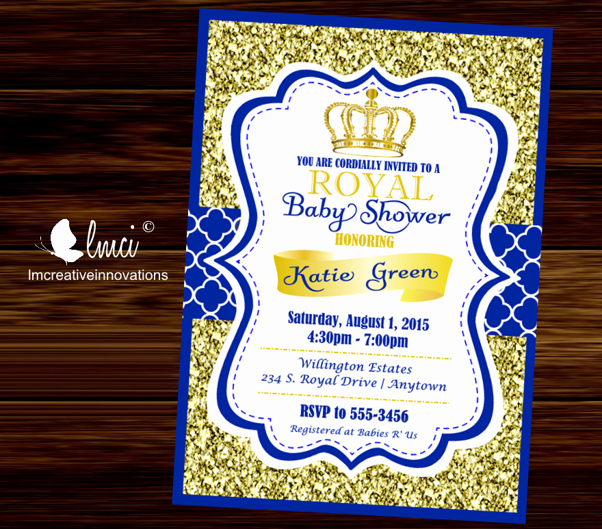 Royal Baby Shower Invitation Elegant Royal Baby Shower Invitation Little Prince Baby Showerblue