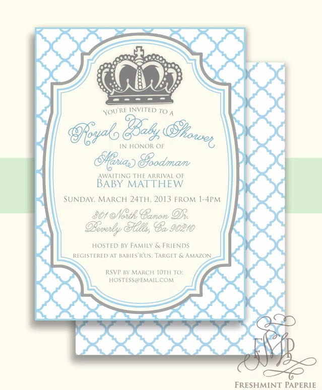 Royal Baby Shower Invitation Fresh Royal Baby Shower Invitation Baby Shower Invitation Prince