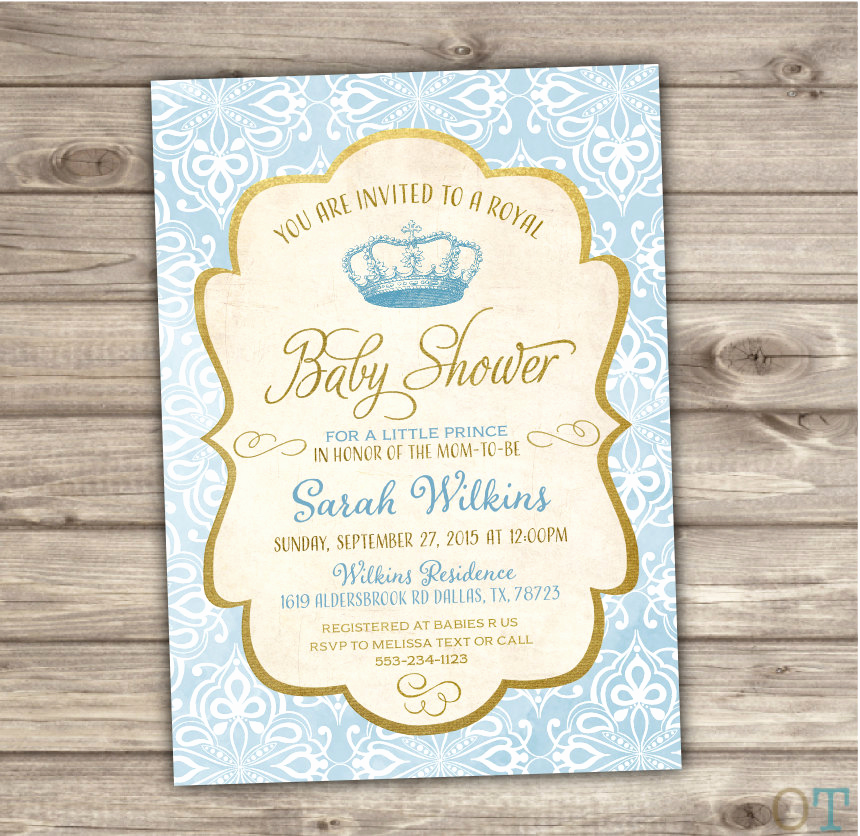 Royal Baby Shower Invitation Luxury Royal Baby Shower Invitations Prince Blue and Gold Vintage