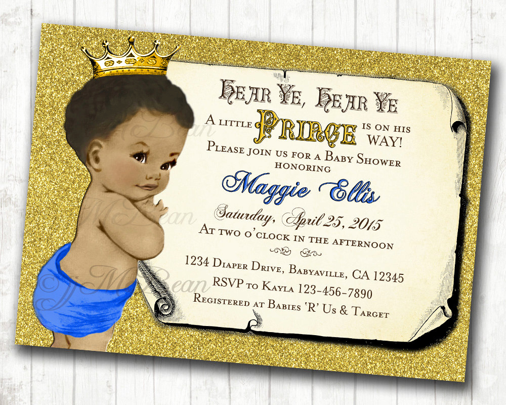 Royal Baby Shower Invitation New Prince Baby Shower Invitation African American Baby Shower