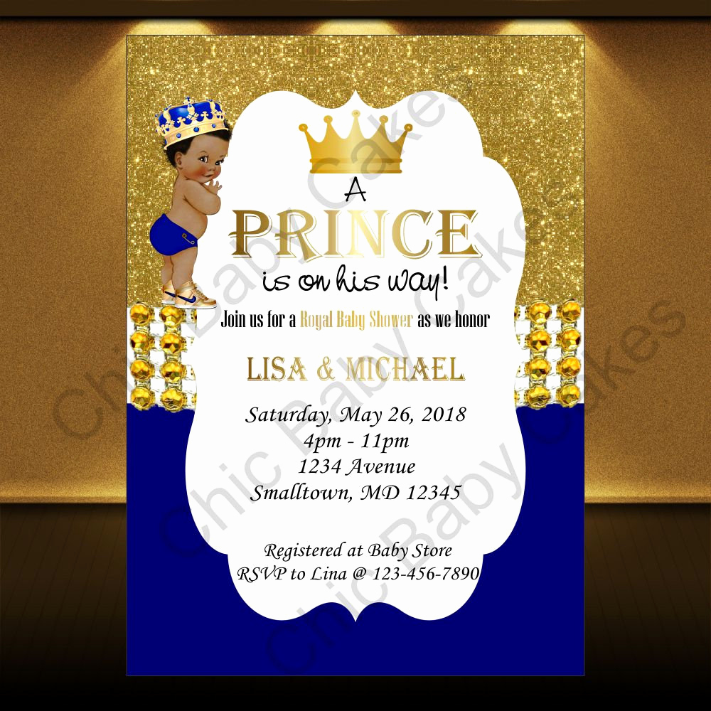 Royal Baby Shower Invitation New Royal Blue & Gold Printable Prince Baby Shower Invitation