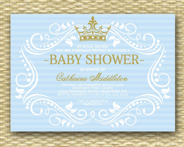 Royal Baby Shower Invitation Templates Awesome Printable Royal Baby Shower Invitation Blue Gold Little