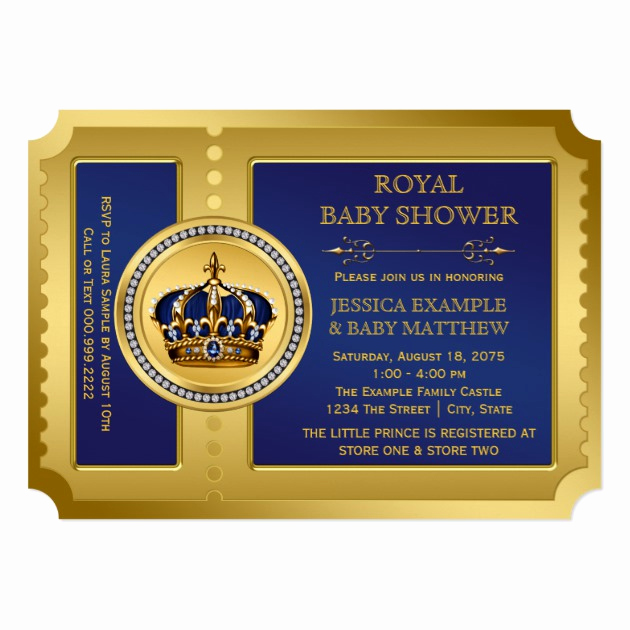 Royal Baby Shower Invitation Templates Beautiful Boys Royal Baby Shower 5x7 Paper Invitation Card