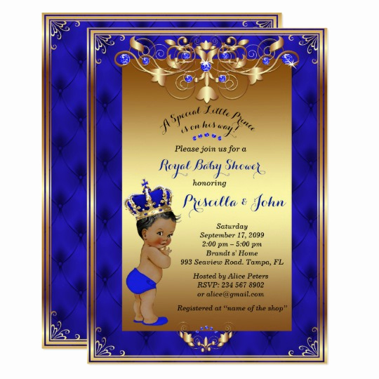 Royal Baby Shower Invitation Templates Elegant Little Prince Baby Shower Invitation Royal Blue Card