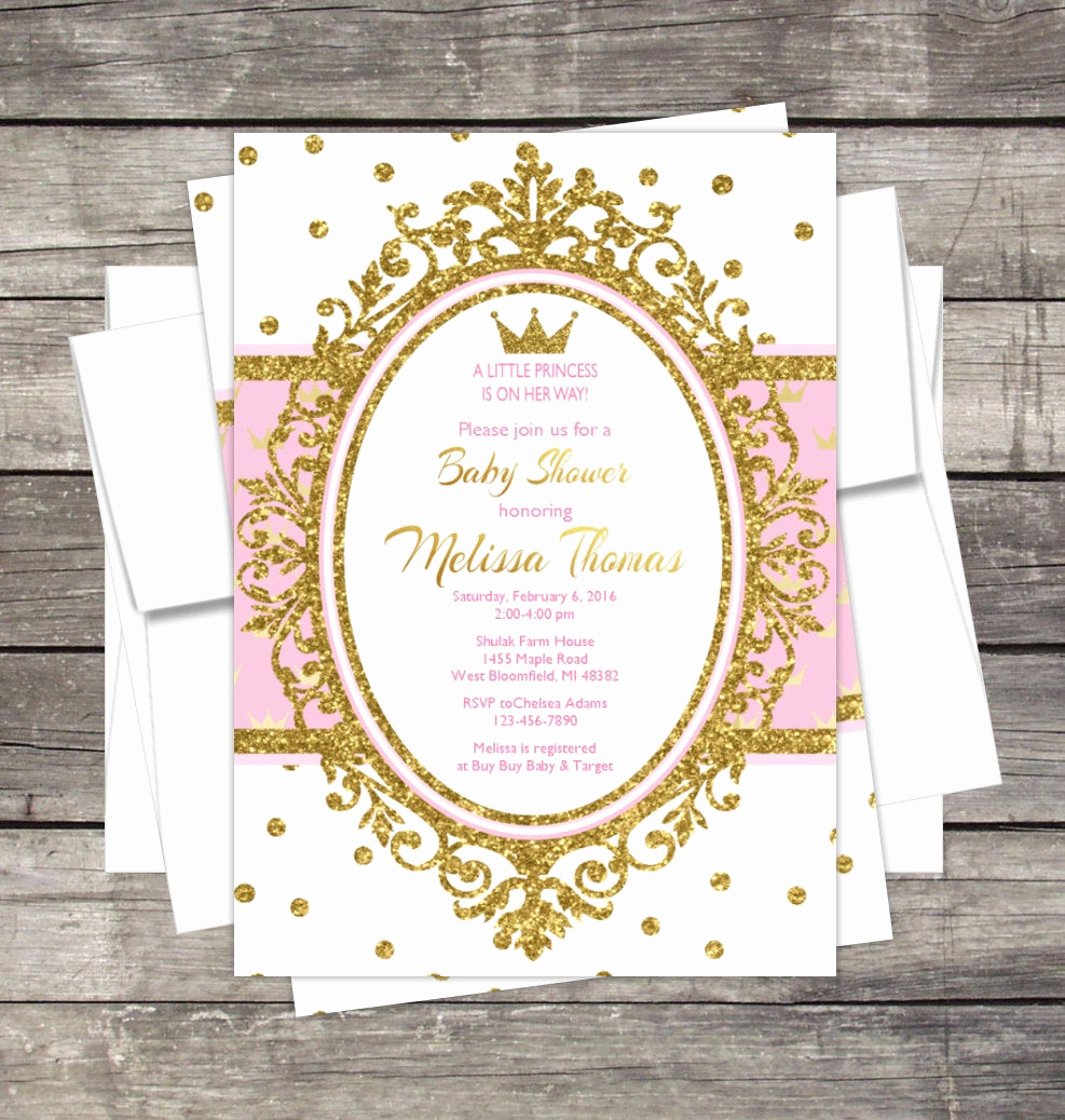Royal Baby Shower Invitation Templates Elegant Royal Princess Baby Shower Invitation Pink or Lavender Gold