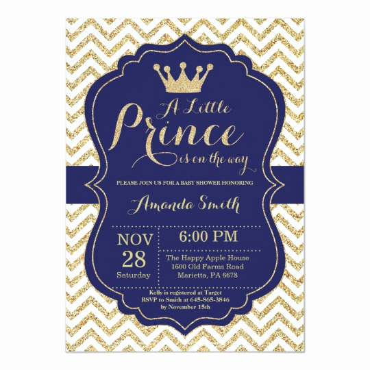 Royal Baby Shower Invitation Templates Fresh Prince Baby Shower Invitation Navy and Gold