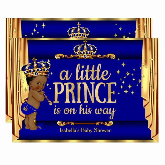 Royal Baby Shower Invitation Templates Fresh Royal Blue Gold Drapes Prince Baby Shower Ethnic Card