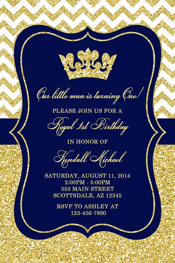 Royal Baby Shower Invitation Templates Inspirational Prince Birthday Party Invitation Royal Blue Gold Birthday
