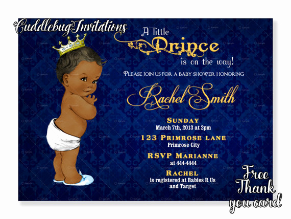 Royal Baby Shower Invitation Templates Lovely African American Boy Baby Shower Invitation Royal Baby Boy