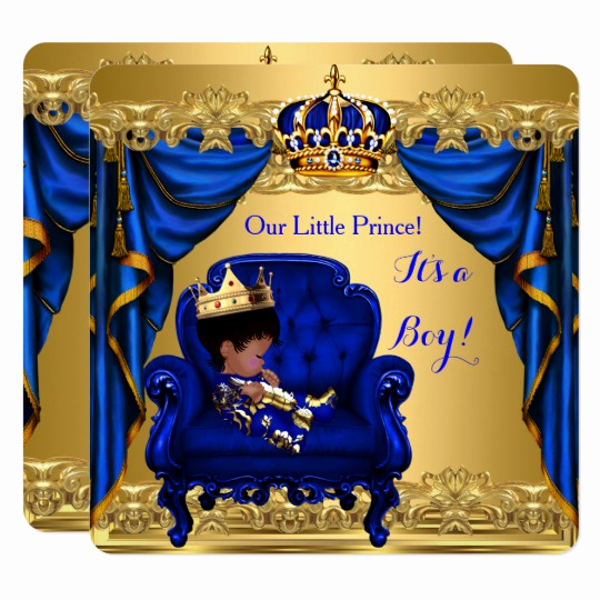 Royal Baby Shower Invitation Templates Lovely Baby Shower Boy Little Prince Royal Blue Golden Invitation