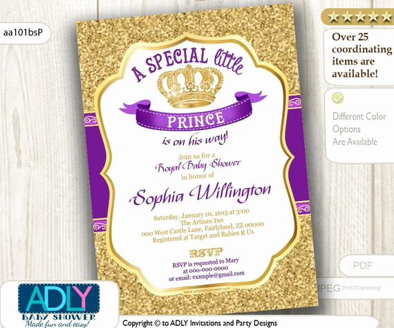 Royal Baby Shower Invitation Templates Luxury Purple Gold Prince or King Baby Shower Invitation Royal