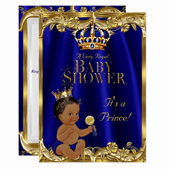 Royal Baby Shower Invitation Templates New Royal Blue Navy Gold Prince Baby Shower Ethnic Invitation
