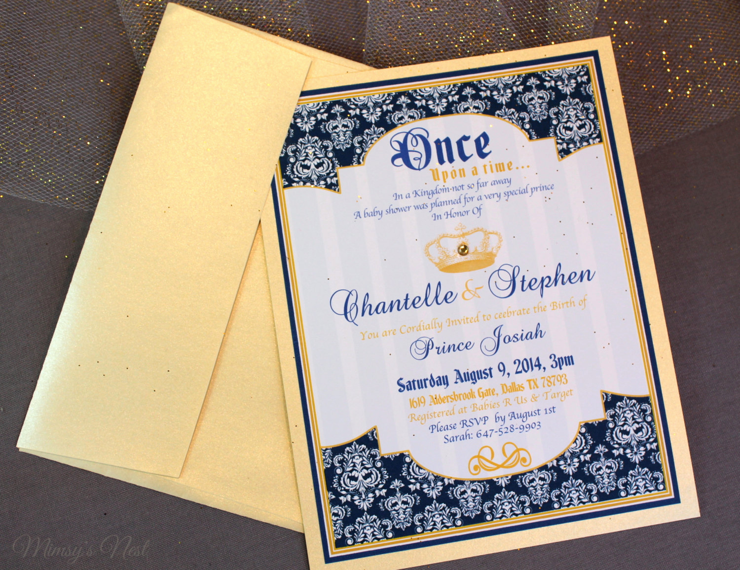 Royal Baby Shower Invitation Unique Set Of 12 Royal Blue and Gold Prince Baby Shower by Mimsysnest