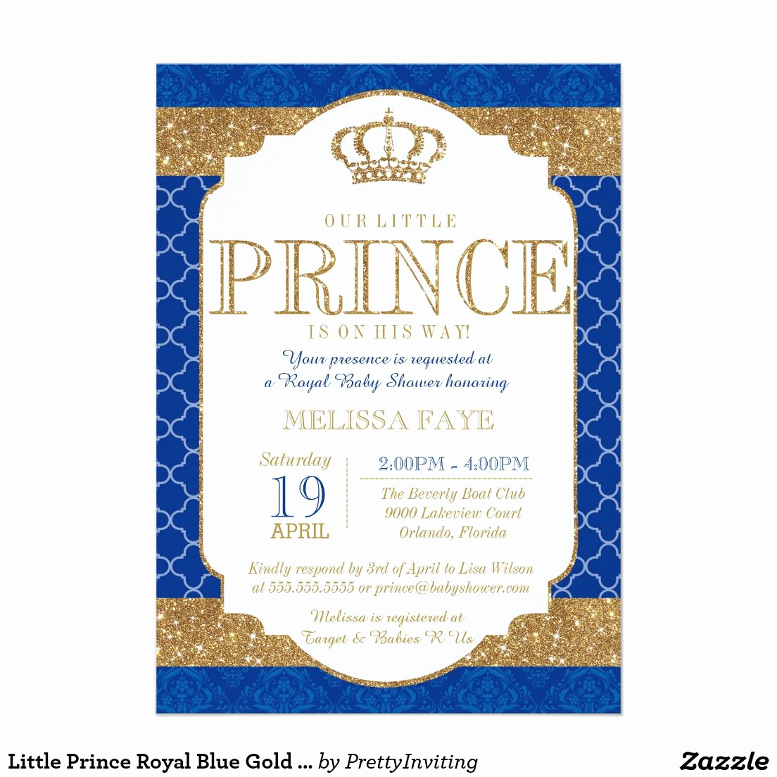 Royal Baby Shower Invitation Wording Awesome Little Prince Royal Blue Gold Baby Shower 5x7 Paper