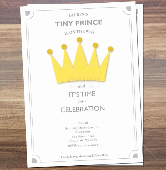 Royal Baby Shower Invitation Wording Awesome Printable Royal Prince Baby Shower Invitation Little