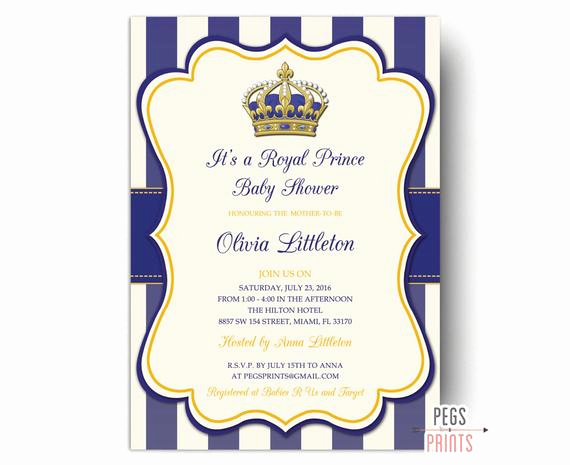 Royal Baby Shower Invitation Wording Awesome Royal Prince Baby Shower Invitations Printable by