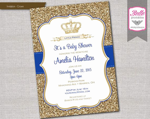 Royal Baby Shower Invitation Wording Beautiful Baby Shower Invitation Prince Crown Royal Blue and Gold