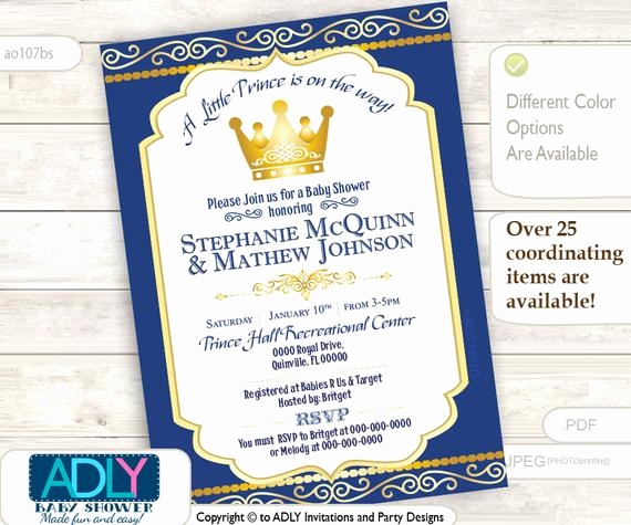 Royal Baby Shower Invitation Wording Beautiful Items Similar to Royal Blue Gold Prince or King Baby