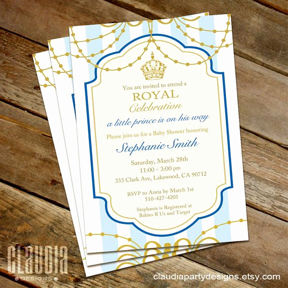 Royal Baby Shower Invitation Wording Beautiful Royal Prince Baby Shower Invitation Blue by
