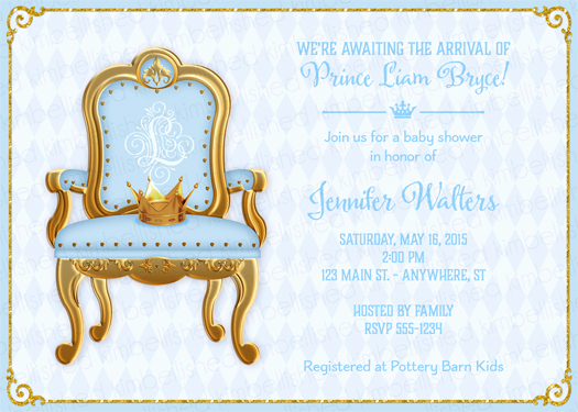 Royal Baby Shower Invitation Wording Best Of Royal Prince Baby Shower Invitation by Kimbellished
