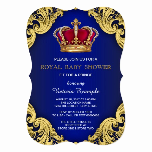Royal Baby Shower Invitation Wording Elegant Royal Fancy Prince Baby Shower 5x7 Paper Invitation Card