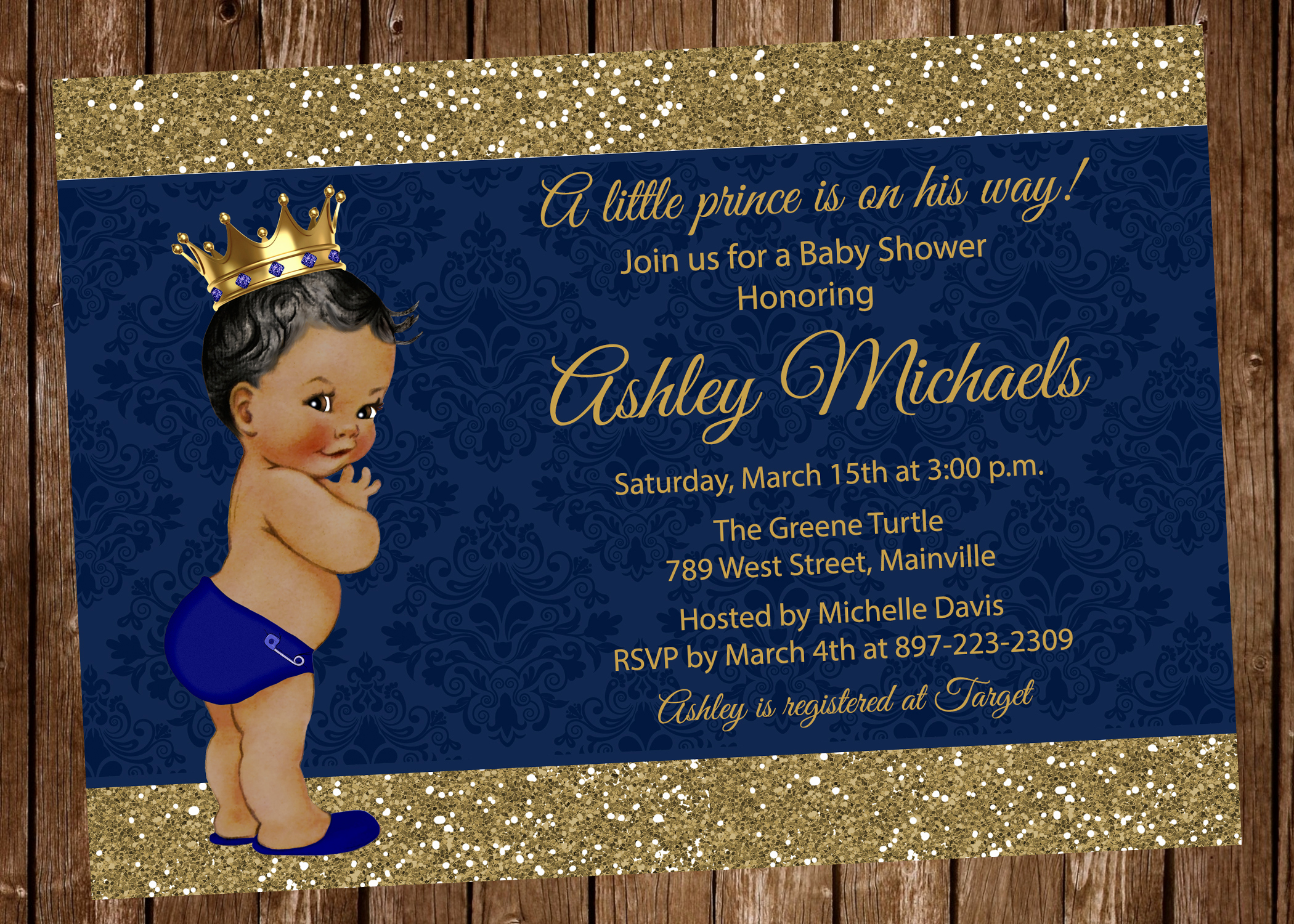 Royal Baby Shower Invitation Wording Fresh Prince Baby Shower Invitation Blue Gold Royal Baby
