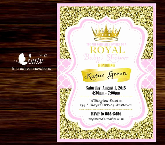 Royal Baby Shower Invitation Wording Lovely Royal Baby Shower Invitation Little Princess Baby Shower