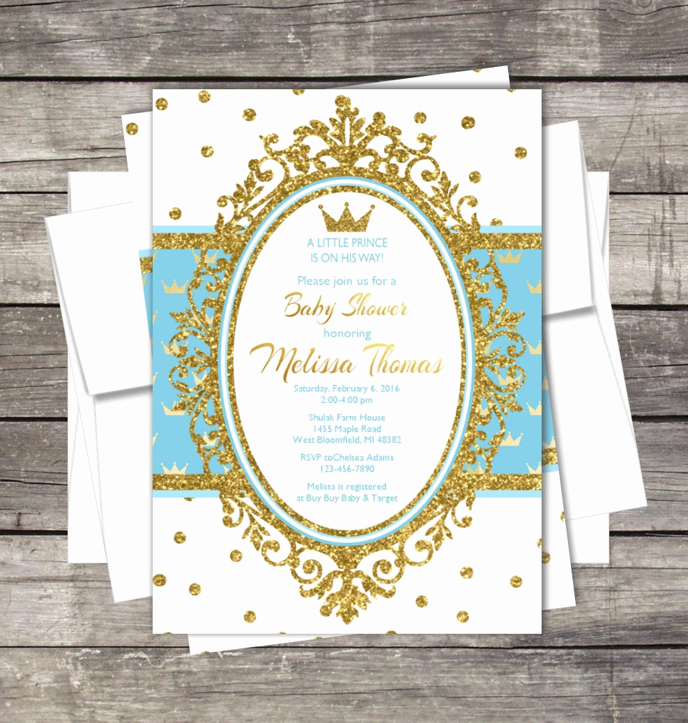 Royal Baby Shower Invitation Wording Luxury Royal Prince Baby Shower Invitation Blue Gold Silver