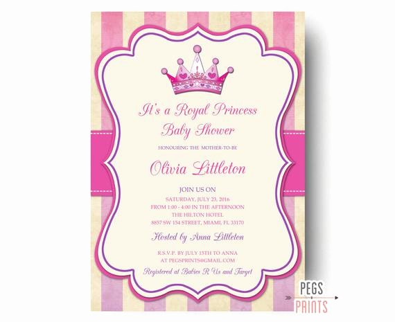 Royal Baby Shower Invitation Wording Unique Royal Princess Baby Shower Invitation Printable Princess