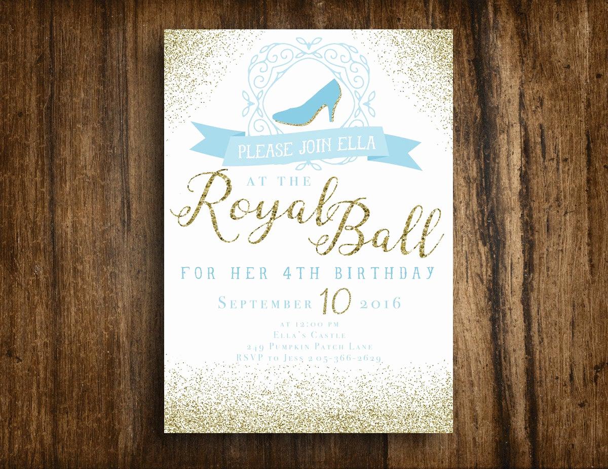 Royal Ball Invitation Template Free Awesome Cinderella Royal Ball Printable Birthday Invitation