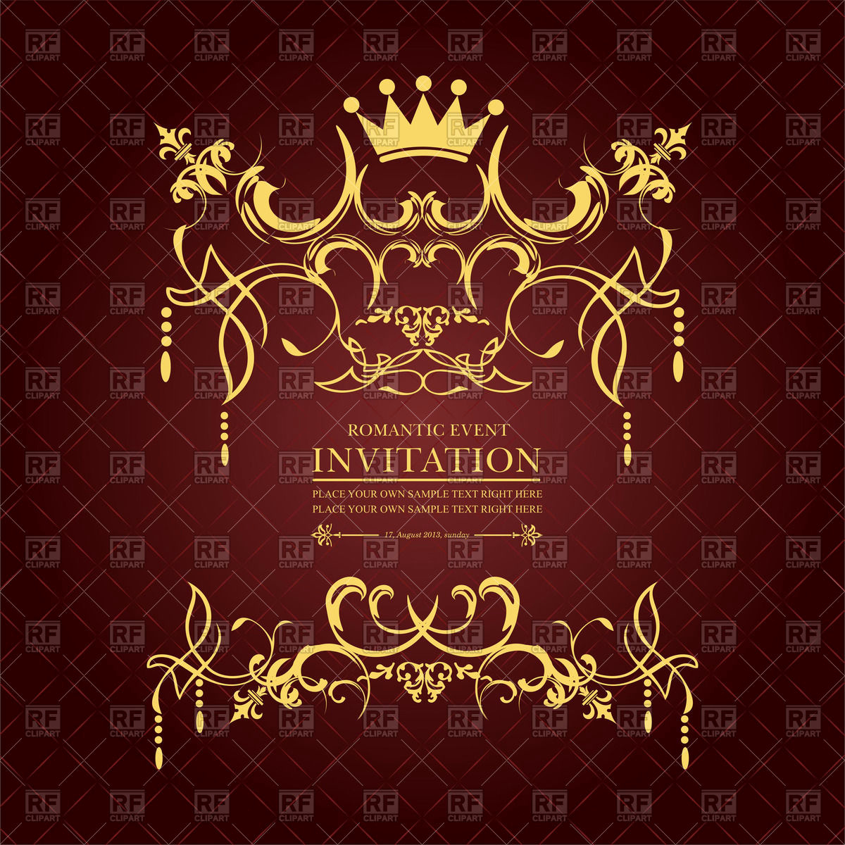 Royal Ball Invitation Template Free Beautiful Royal Invitation with Crown and Vintage ornament Vector