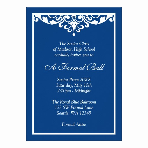 Royal Ball Invitation Template Free Elegant Royal Blue Flourish formal Prom Dance Ball Invitation Card