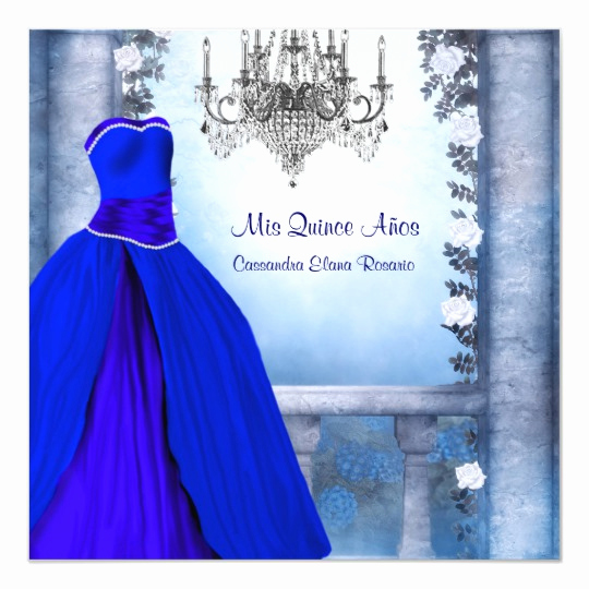 Royal Ball Invitation Template Free New Ball Gown Royal Navy Blue Rose Quinceanera Card
