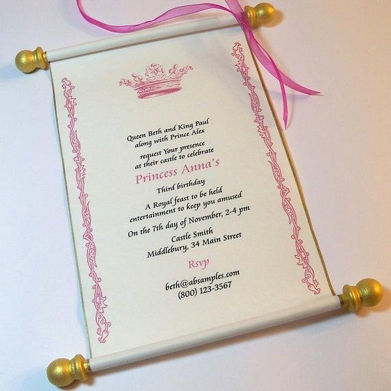Royal Ball Invitation Wording Elegant Royal Birthday Party Scroll Invitation Set by Artfulbeginnings